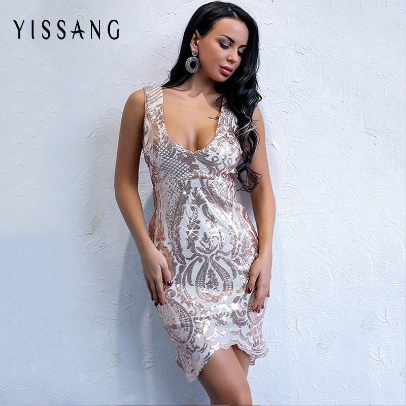 Yissang Sexy Bling Sequined Mini Dress Women Bodycon Sleeveless Backless  Sheath Gold Dress Bandage Clubwear Short Vestidos -in Dresses from Women s  Clothing ... 4f3de44580b8