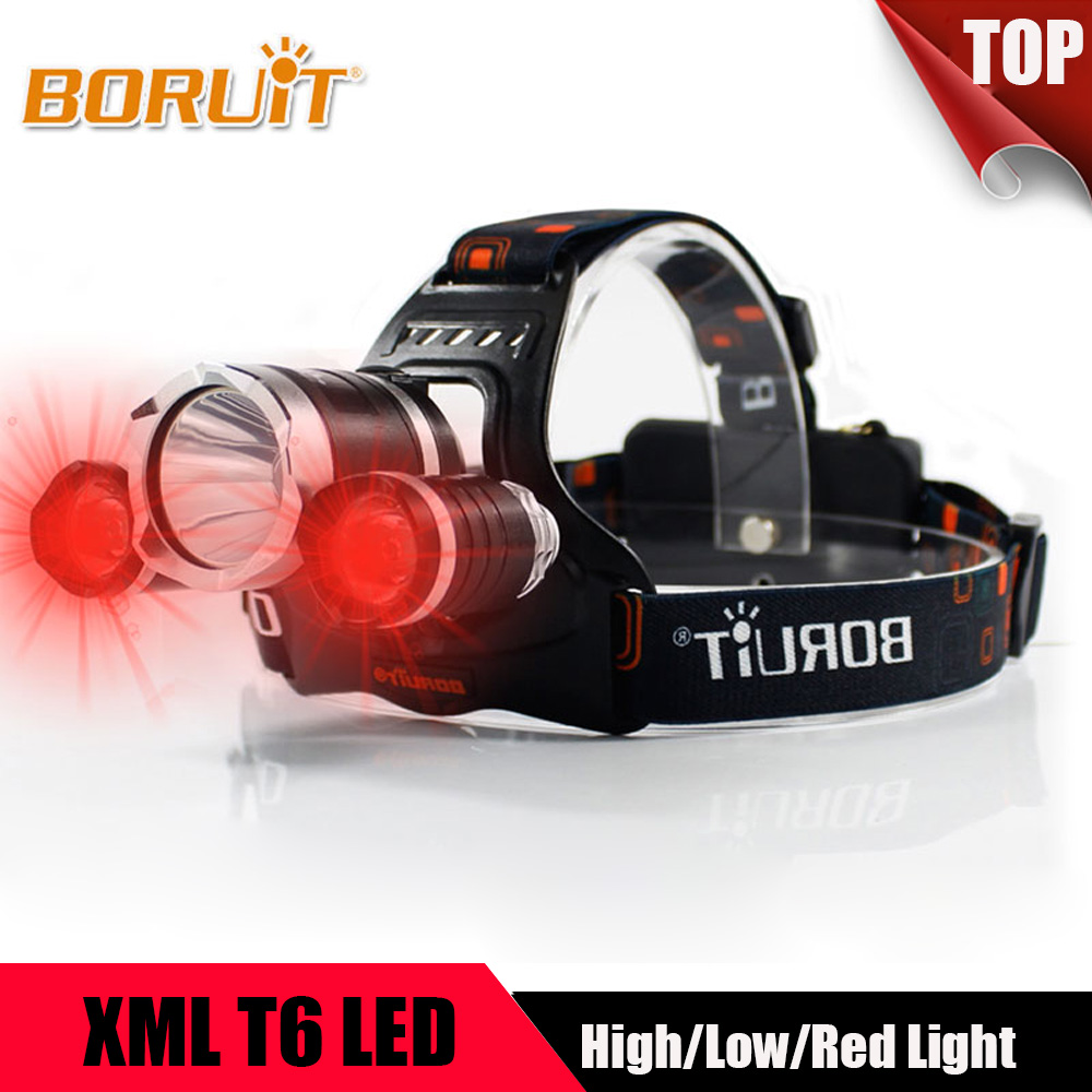 BORUIT 5000LM T6 White+2R5 Red Light LED Headlight 3 Modes 18650 Battery Rechargeable Headlamp For Fishing Hunting Head torch