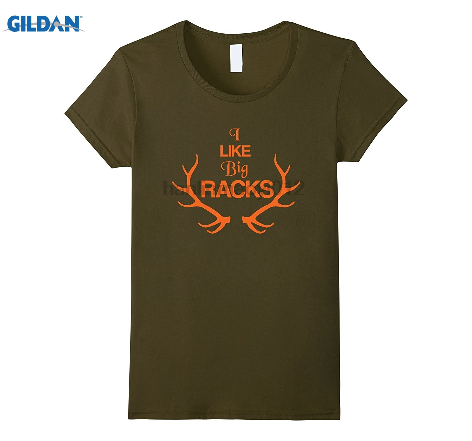 GILDAN Deer Hunter T-Shirt I Like Big Racks Blaze Orange Doe Womens T-shirt
