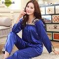2016 Новый Kaoulan Пижамы, Установленные Для Женщин Шелковые Пижамы Стежка С Длинным рукавом Дамы С Длинным Рукавом Шелк Пижамы Женщин Плюс Размер