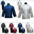 Negro Rojo Azul Blanco hombres Chinos Satin/kung fu seda pijama traje M/L/XL/XXL