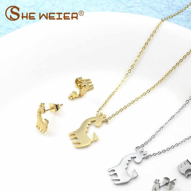 CÔ WEIER động vật trang sức phụ kiện Bộ nữ bạc thời trang nam nữ mạ vàng trang sức bông tai kẹp vành đính choker