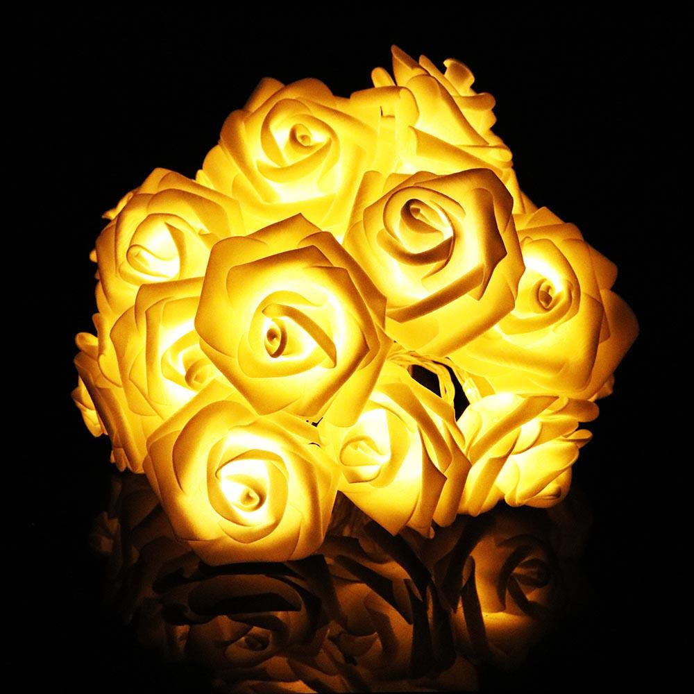 2 м 20 РОЗА светодиодная гирлянда с цветком Сказочный фонарь розовый романтический для праздника, свадьбы, Рождества, Дня Святого Валентина, декор L - Испускаемый цвет: Цвет: желтый