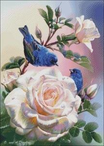 Image 2 - Kits de punto de cruz con cuentas bordadas, costura manualidades 14 ct DMC DIY art Color decoración hecha a mano Rosas y Pájaros Azules
