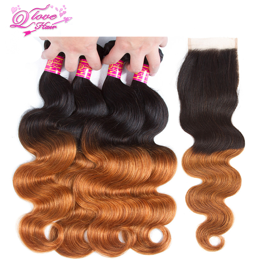 Queen Love Hair Pre-Colored 1B/30 Ombre Malaysia Bouncy Body Wave Human Hair 4 Bundles with Lace Closure Non Remy Hair