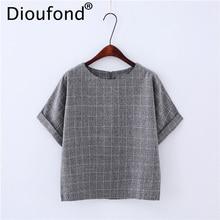Dioufond Casual Zipper Female Shirts Cotton Linen Women's Blouses Plaid Short Sleeves Ladies Tops O-Neck Summer 2018 Shirt Women