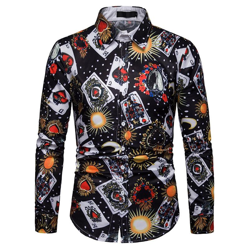 Casual Mens Shirts Long sleeve Blouse Men clothes Fashion Poker printing Hawaiian Shirt New
