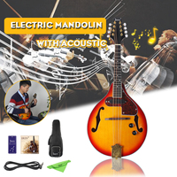 8 String Electric Mandolin A Style Rosewood Fingerboard Adjustable String Instrument with Cable Strings Picks Bag