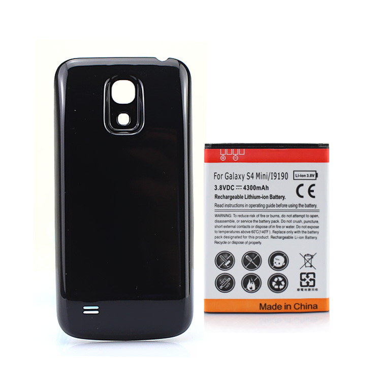 For Samsung Galaxy S4 mini i9190 4300mAh Extended Battery + Back Cover For Samsung Galaxy SIV mini i9190 Black