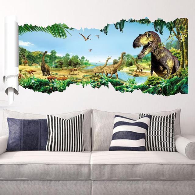 creative cartoon new jurassic dinosaur wall stickers for kids rooms