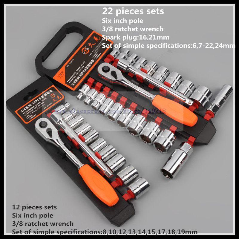 Ensemble de clés à cliquet manchon de mouche moyen 3/8 22 pièces outil de réparation automatique de clé rapide. - 3