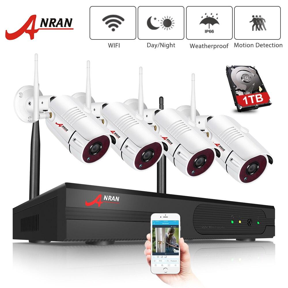 Anran wifi sistema de câmera de segurança 4 canais 1080 p casa & ao ar livre camers segurança vídeo sem fio sistema fácil controle remoto & vista