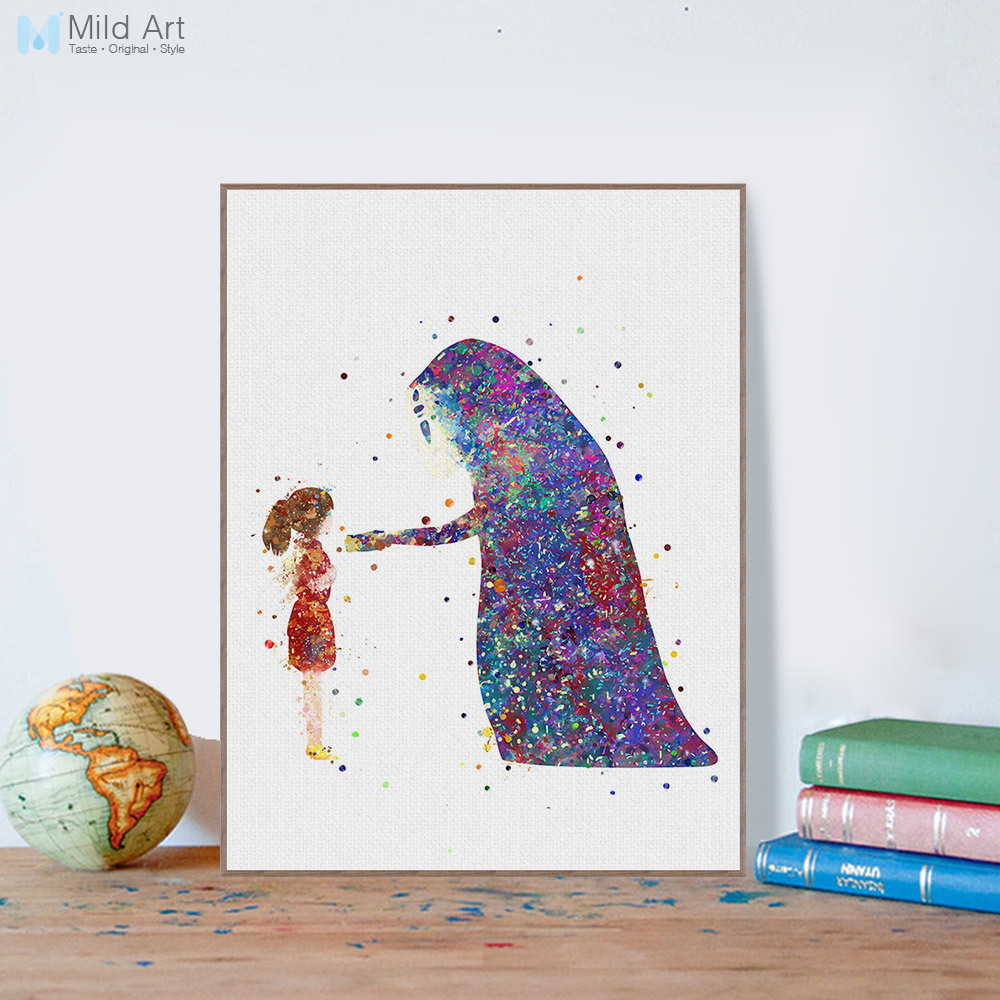 Modern Watercolor Canvas A4 Art Print Poster Miyazaki Movie Spirited Away Wall Pictures Kids room Home Decor Paintings No Frame image