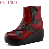 Ethnic Style Ankle Boots Genuine Leather Shoes Vintage Mom Women Shoes Retro Handmade Boots For Women
