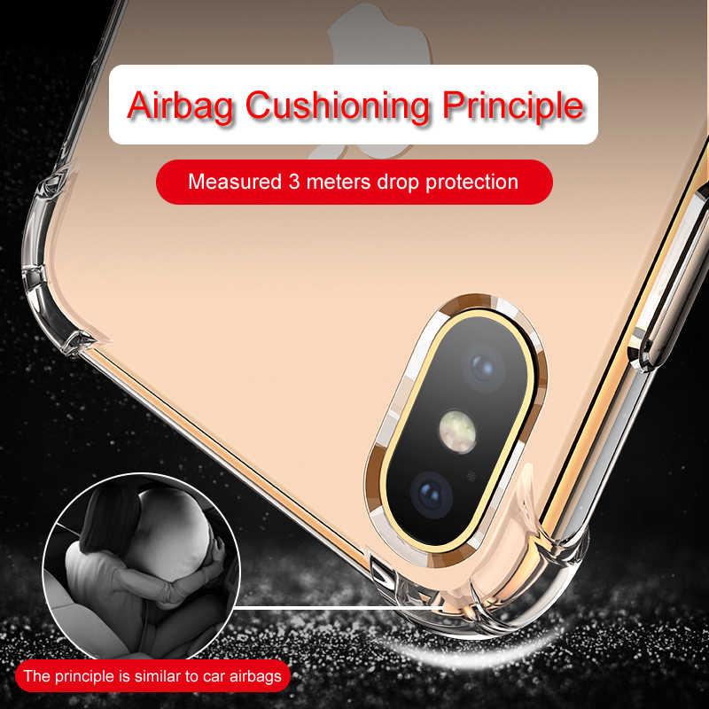 Étui pour iphone de téléphone en Silicone Transparent 11 Pro Max X XR XS 8 7 6 6S Plus 5 5S étui 6D Protection antichoc sonore couverture arrière