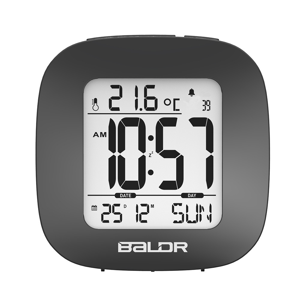Small Snooze Alarm Clock with Backlight Temperature Display Date Calendar Multifunction Display White and Black Color