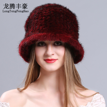 цена на  Mink fur Knitted cap Hats female beanies Genuine fur Princess Hat natural fur Russian Hats elastic 2017 winter warm women caps