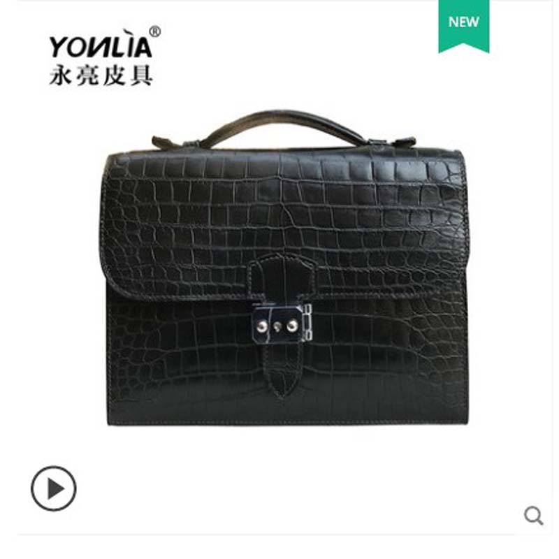 Yongliang Leather Goods The New Crocodile Belly Handbag Fashionable Leather Handbag Briefcase For Men And Women