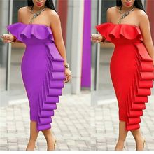 Women Tube Dress Bodycon Evening Off Shoulder Club Party Ruffles Sexy Dinner  Clubwear Backless Ladies Slim f777f0401c97