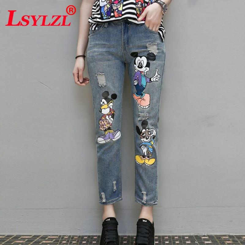 5Xl Mickey Mouse Women Boyfriend Jeans Plus Size Ripped -8681