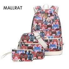 Mallrat рюкзак женщины с принтом Совы рюкзак холст Bookbags школьные рюкзаки сумки для подростков Girls Bagpack backbag 3 шт./компл.