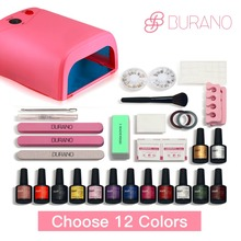 BURANO Soak-off Gel polish Top & Base Coat gel nails polish kit 36w white lamp 12 colors art tools kits sets manicure set