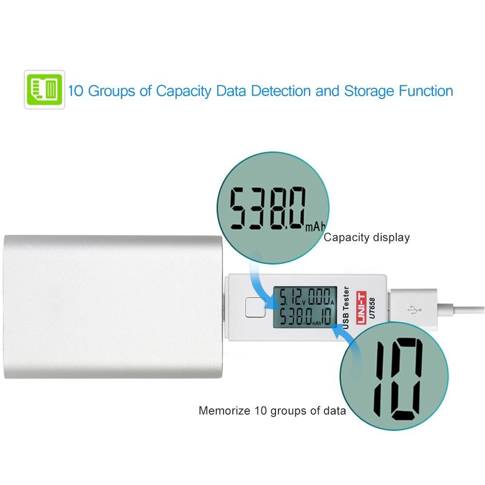 UT658 Digital U Disk Voltmeter Ameter battery tester LCD USB Voltage Current Meter Charging Capacity Tester DC3 9V 0 3A in Voltage Meters from Tools