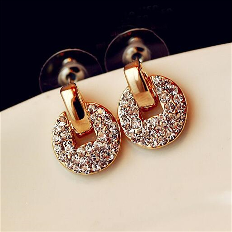 Lusion Jewelry Crystal Round Stud Earrings Woman New Fashion Gold Color Zircon Cheap Earring Female Wholesale Accessories Sale