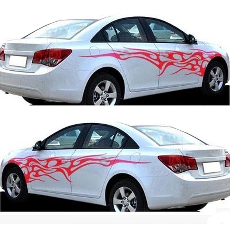 2pcs universal fashion car sticker decals fire flame decor Car exterior decoration accessories