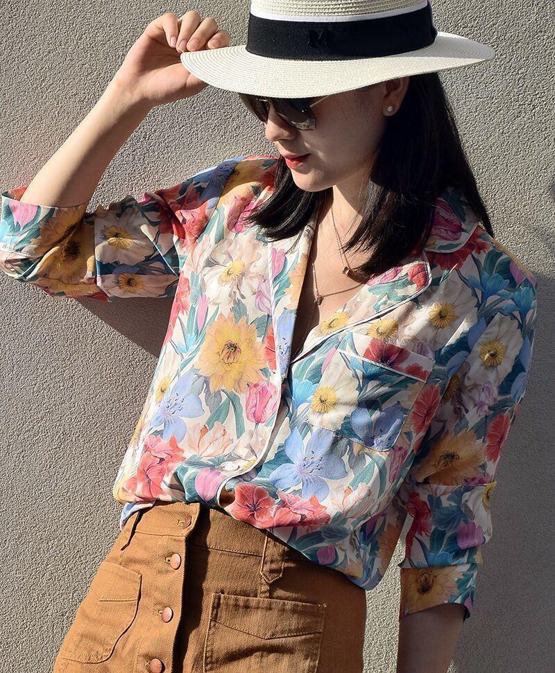 Col De Arrivée 2018 Manches Pyjamas Longues Plus Soie Cru Mode Automne Nouvelle Femmes Chemisier Taille Rétro Impression En La Chemises Cranté qwIYw