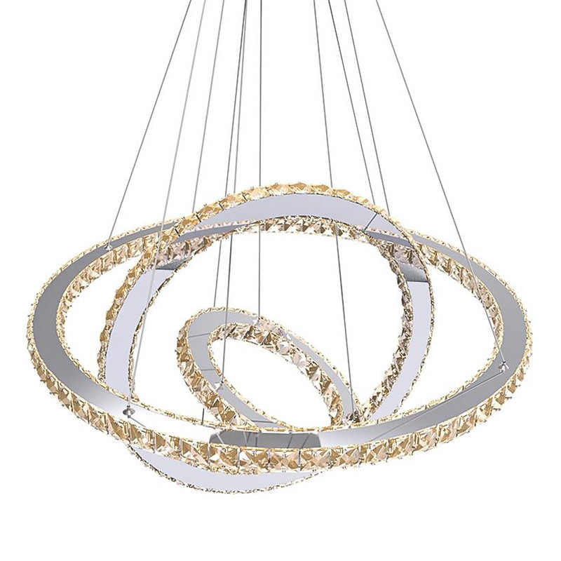 Modern Crystal 3 Rings Chandeliers Led Lustre Chandelier Ceiling For Living Room Chrome Suspended lamp Lustres Pendant Lamp