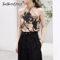 TWOTWINSTYLE Embroidery Vest For Women Off Shoulder Floral Halter Lace Up Vests Female Summer Elegant Fashion