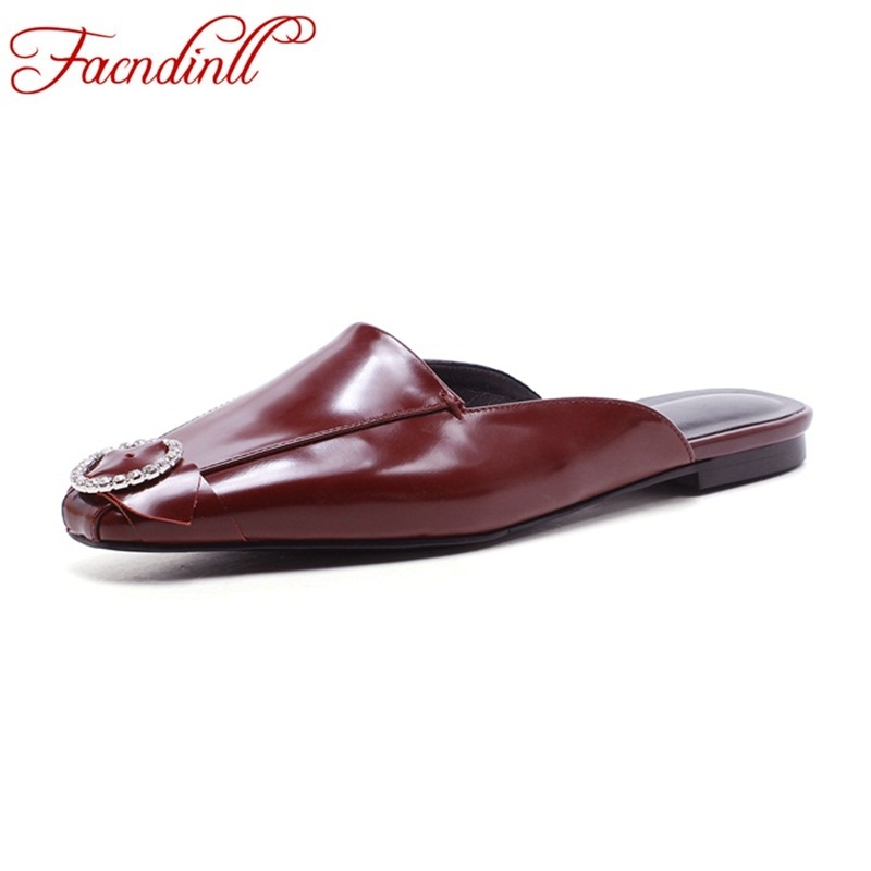 FACNDINLL fashion rhinestones casual shoes flat heel platform sandals women real leather summer sandals ankle-wrap dress slipper facndinll genuine leather sandals for