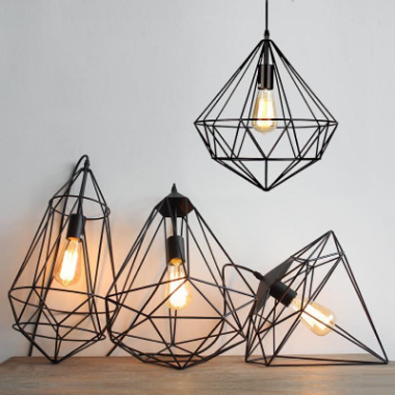 Moderne minimaliste nordique polygone diamant creux lumières E27 personnalisé or rose unique tête salon suspension lampe
