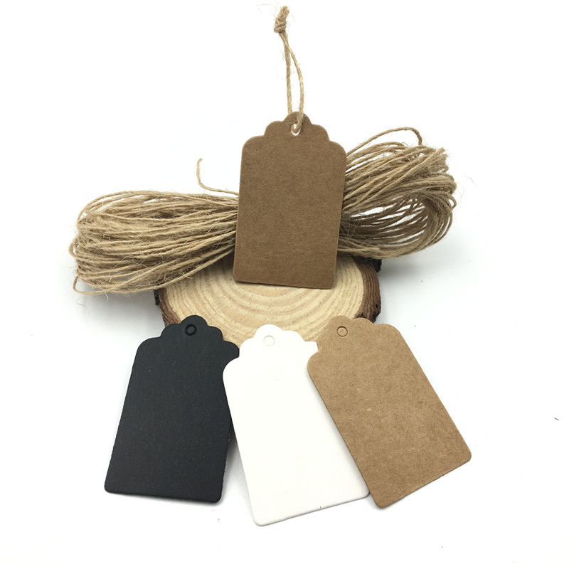 100pcs/lot White Black Brown Kraft Paper Tags DIY Scallop Head Label Luggage Wedding Note Blank Price Hang Tag String 5*3cm
