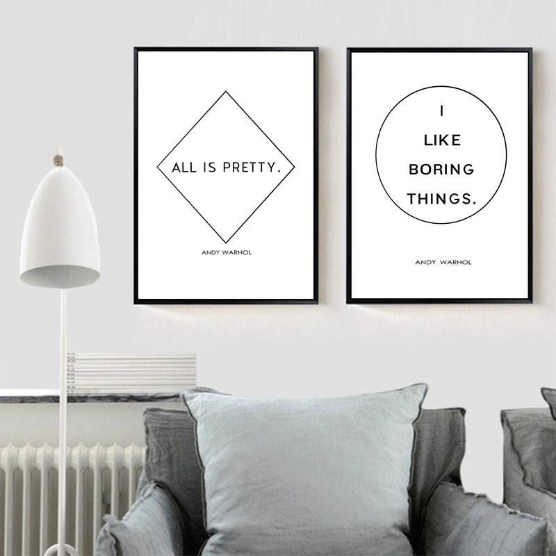 Gift Wall art print home gift monochrome Warhol minimalist Quote
