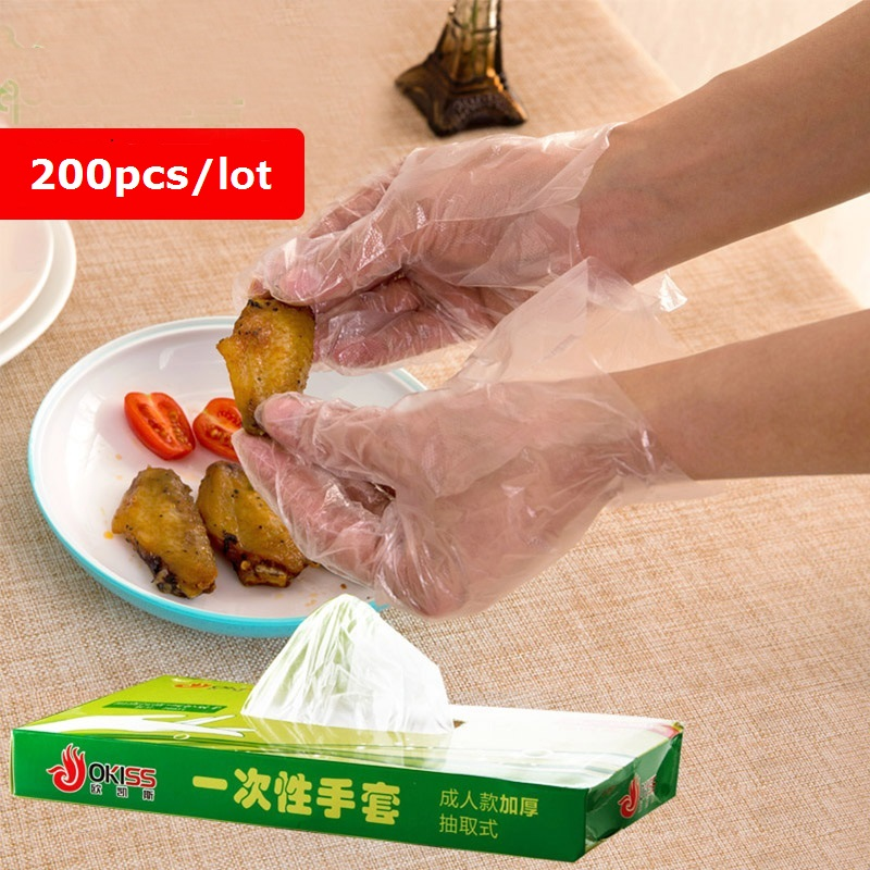 vanzlife Household Disposable Plastic Transparent Gloves Removable Boxed Kitchen Baking Health Thick Food Film Gloves