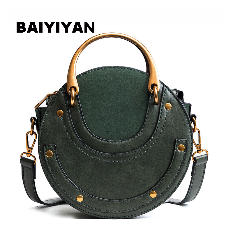 New Ladies Rivet Shoulder Bag Round Messenger Bag Metal Handle Handbag Female High Quality Mini Tote Bag