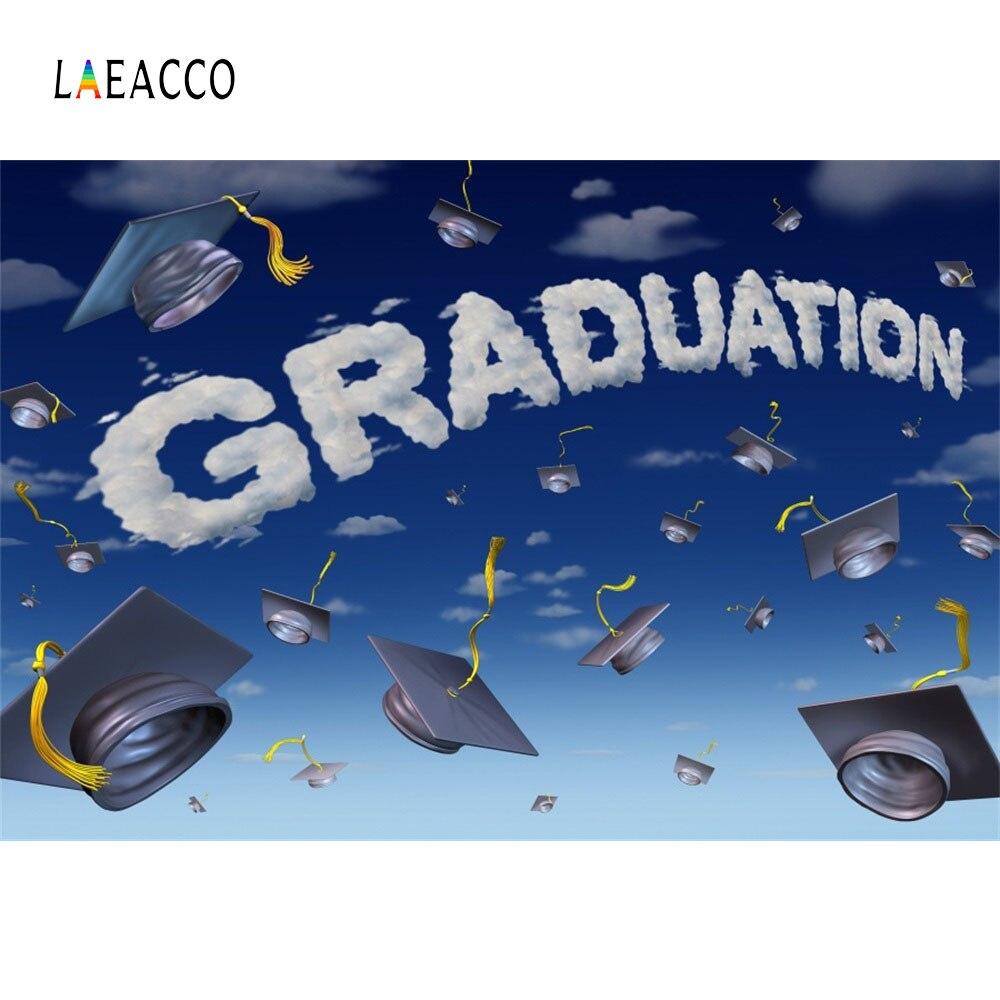 Laeacco Cartoon Sky Bakalářské Cap Graduation Fotografické - Videokamery a fotoaparáty - Fotografie 1