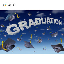 Laeacco Cartoon Sky Bachelor Cap Graduation Photographic Backgrounds Customized Photography Backdrops For Photo Studio