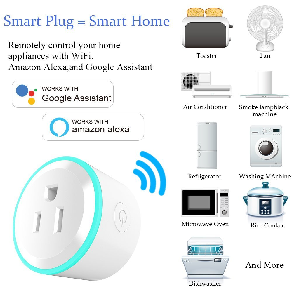 US $19 64 36% OFF|Top Deals 2 PACK 10A US Plug WiFi Mini Smart Plug Socket  APP Remote Control Outlet Socket-in Electrical Plug from Consumer
