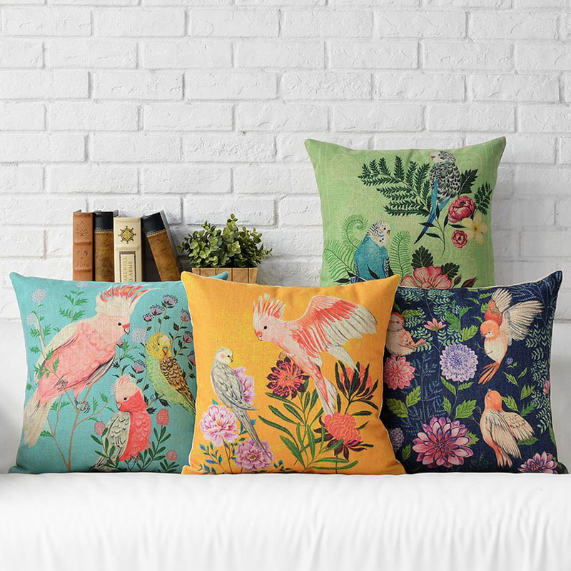 Cushion Cover Parrot Bird Pillow Case Firm Flower Sofa Butterfly Bedroom Home Decor Throw Pillow Cover Home Decor Almofadas