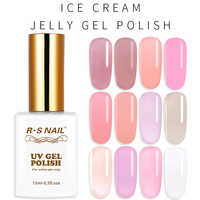Cor translúcida do prego de rs gel de geléia polonês semi transparente verniz de gel de unha uv led esmalte permanente gellak híbrido 15ml