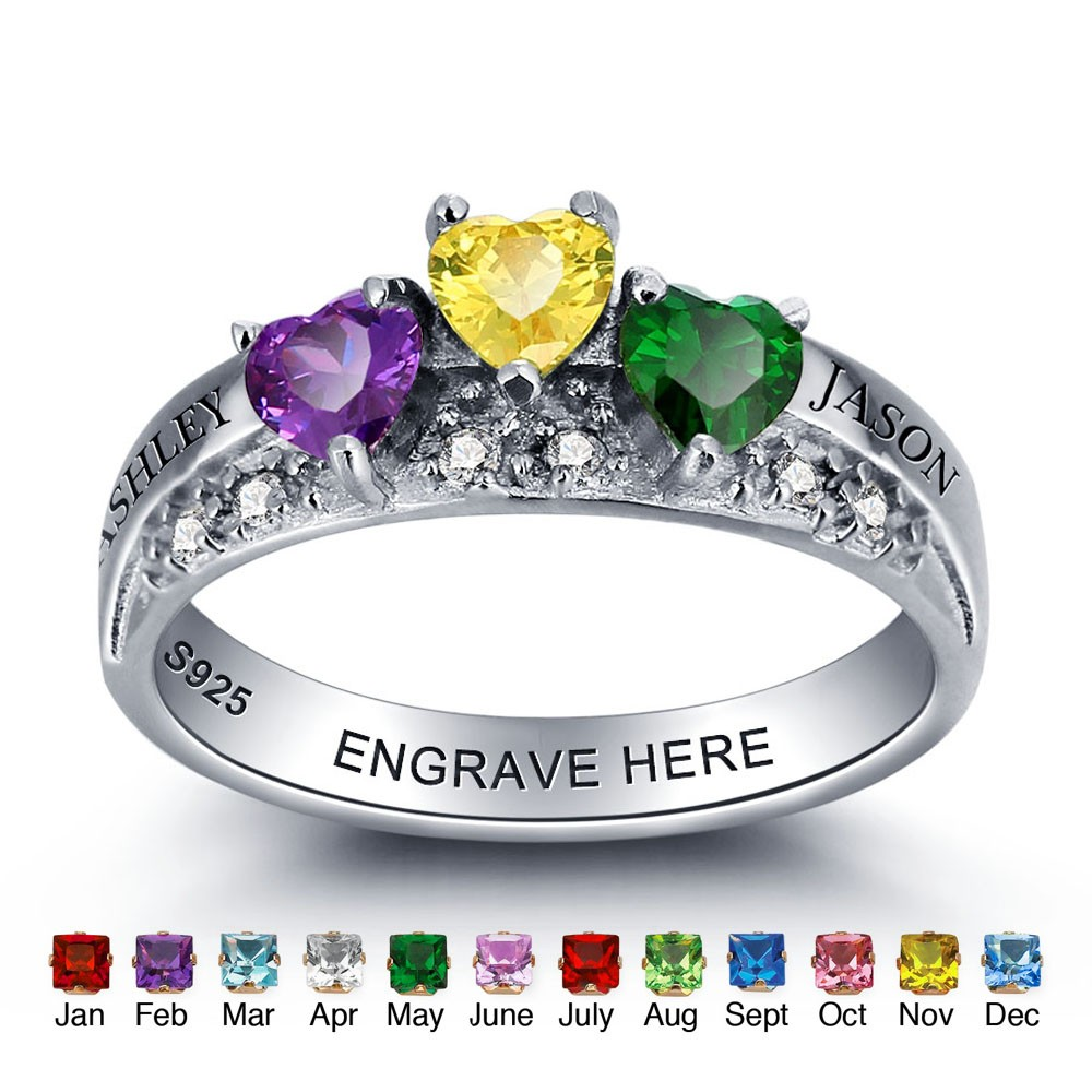 ce2167a075 925 Sterling Sliver Personalized Name Birthstone Heart Rings Custom ...