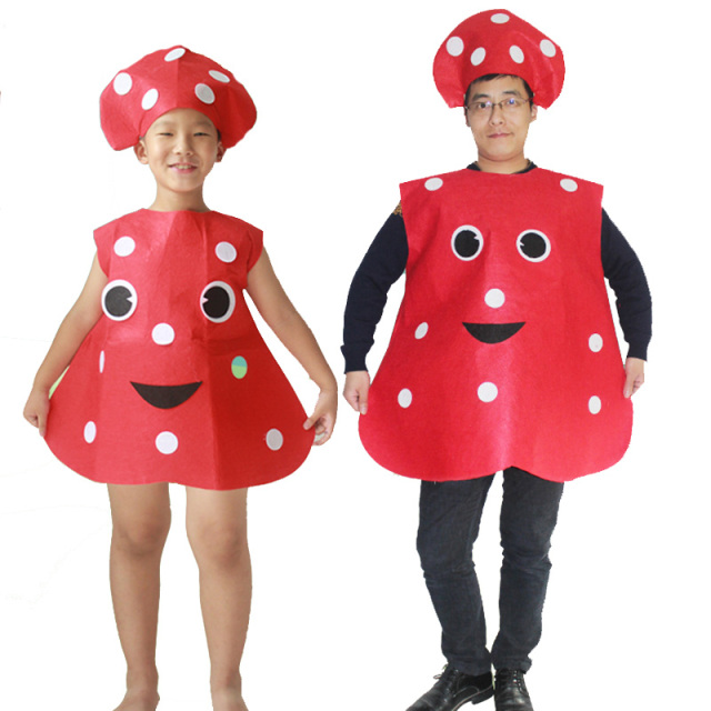 halloween party cosplay children kid adult red mushroom costume felt vegetable jumpsuit for boy and girl