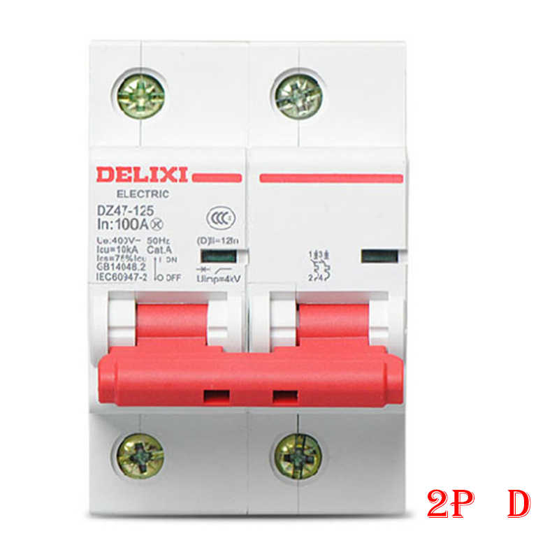 """Interruptor de aire de disyuntor en miniatura DZ47-125 DELIXI MCB 2 polos """"D"""" Curvers 63A-125A 63A 80A 100A 125A"""