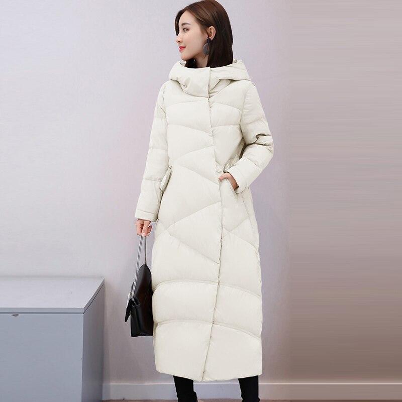 White Duck   Down     Coats   Women Long Thicken Hooded   Down   Jackets Autumn Winter Female Black Gray Loose   Down     Coat   Outwears LJ2003
