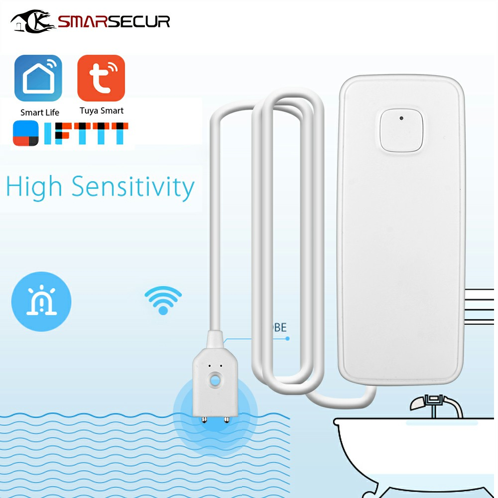 SMARSECUR Wireless Smart WiFi Water Leakage Detector APP Control Tuya Smart