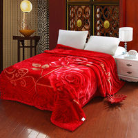Thick Raschel Blankets big size Floral Rose print double Face bedding Throws red color wedding unique Gift