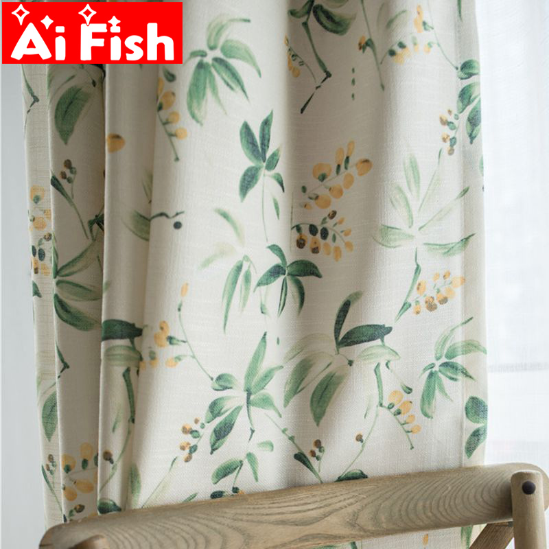 US $8.42 48% OFF|American Country Cotton Linen Semi shade Curtains For  Living Room Green Leaves Floral Window Screen Bedroom Curtain Fabric  MY122-in ...